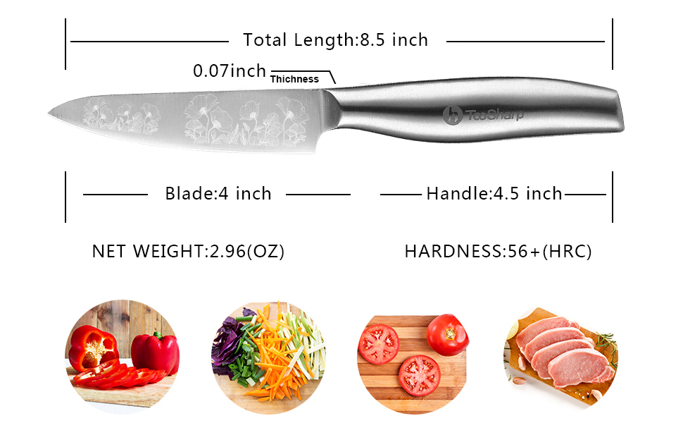 TooSharp Paring Knife for Cooking 4 inch