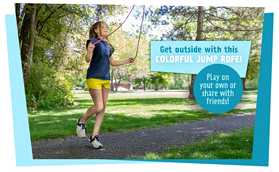 Get outside with this colorful jump rope. Play on your own or share with friends!