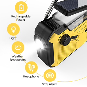 Multi-purpose Crank Solar Radio