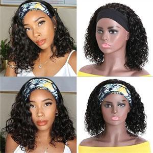 Brazilian Virgin Human Hair None lace front wigs for black woman Water wave bob headband Wig