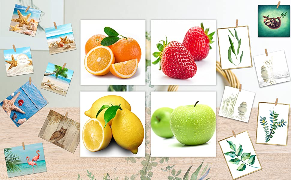 Orange, Apple, Lemon, Strawberry Fruits Design Wall Artwork Paintings, 12x12 Inches Giclee Walls