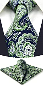 Blue Green Ties for Men with Pocket Square