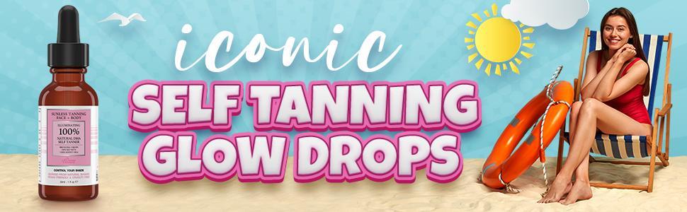 Natural Glow Self Tan Dark Sunless Tanning Lotion Bronzer LA Tan Fake Tan, Self Tanner Glow Drops