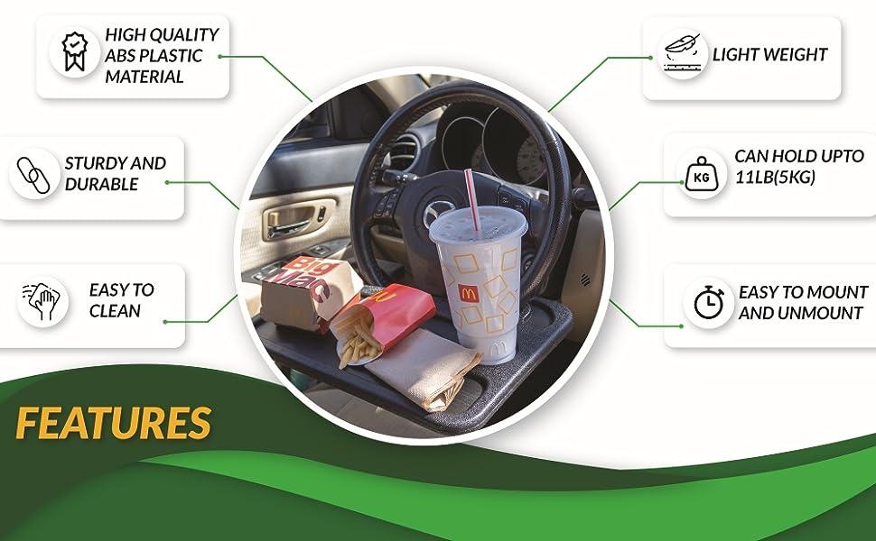 EcoNour Steering Wheel Desk Portable tray Wheelmate Feature's