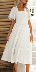 Square neck midi dress for women