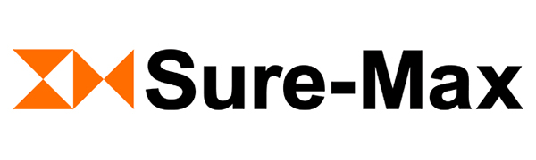 Sure-Max logo, bold black text, orange triangles before text, two top and bottom, two left and right