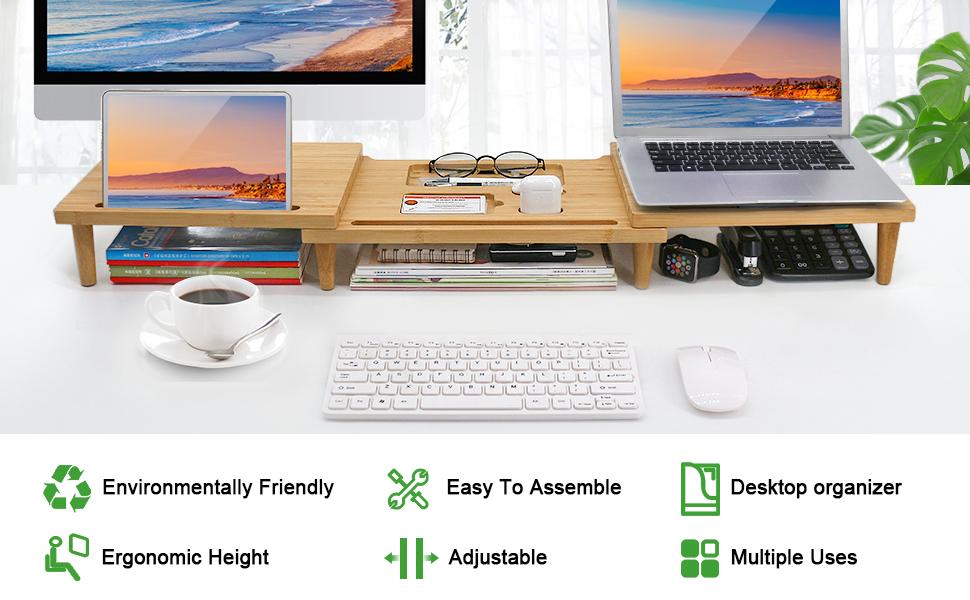 BEEBO BEABO Bamboo Dual Monitor Stand Riser Desk Organizer