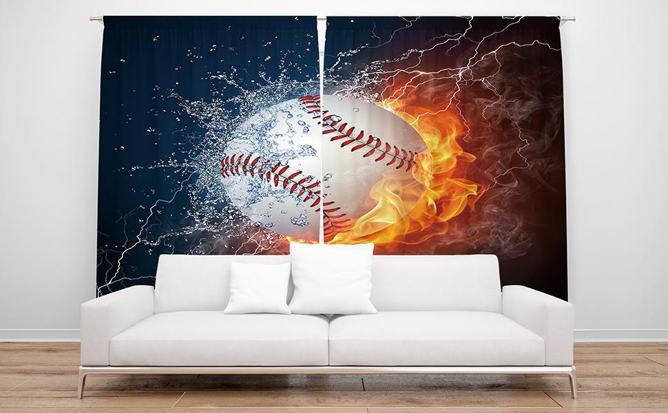 Cinbloo Sports Baseball Curtains Rod Pocket Ball in Fire Water Flame Lightening Splashing Thunder