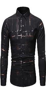 Mens Shiny Printed Button Down Shirts shirt