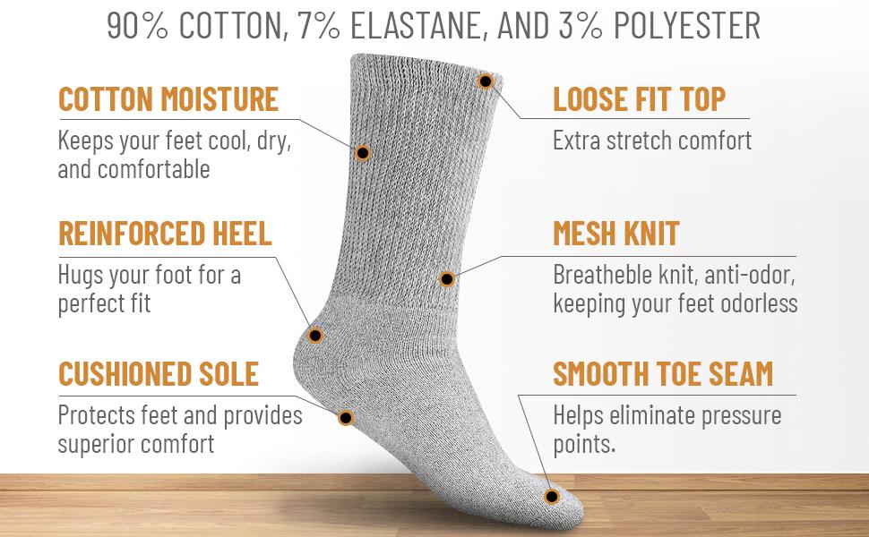 diabetic socks, loose fit, non binding, crew, healthy, blood circulation,