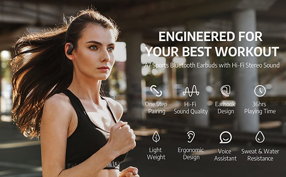AIHOOR A7 Wireless Earbuds with Earhooks, Designed for Sports, Workout, Running, Gym, Yoga, Jumping