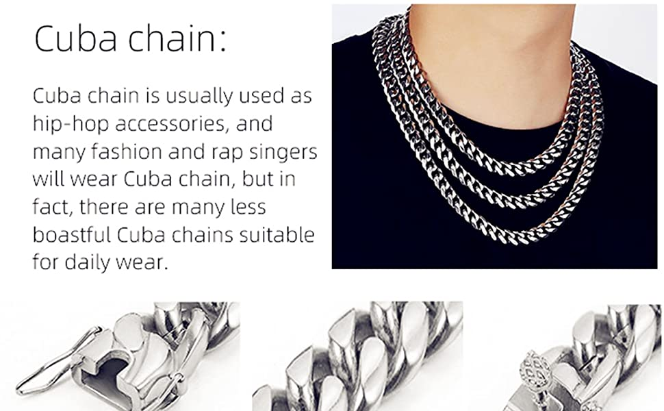 Cuban Link Chain for Men Boys Stainless Steel Chain Jewelry