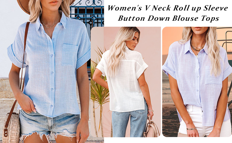 Women's Casual 3/4 Tiered Bell Sleeve V Neck Print Button Down Loose Tops Blouses Shirt