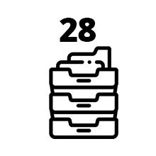 28 compartments for optimum storage capacity