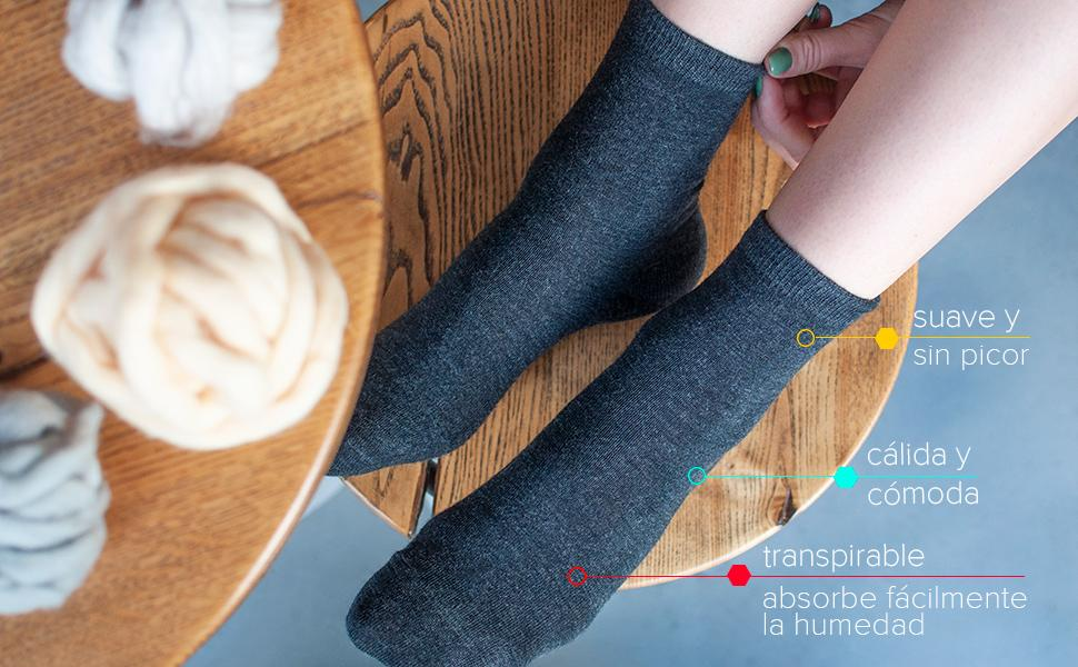 calcetines lana merino invierno calidos calentitos mujer