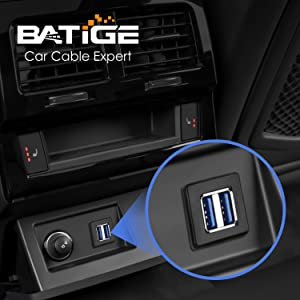 BATIGE - 2 PORTS DUAL SQUARE USB 3.0 CAR MOUNT FLUSH CABLE scenes