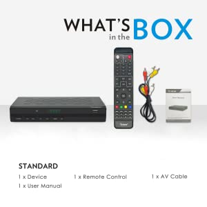 What's in the Box - 3500STBIII Converter Box, Remote, AV Cable, and User Manual
