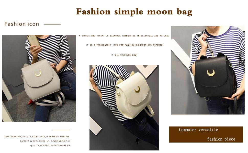 XTAPAN Women Moon Luna Cat Purses Pu Leather Cute Cat Cross Body Shoulder Bag