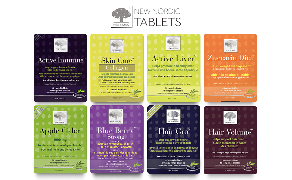 new nordic active immune, skin care, active liver, apple cider, blue berry strong, hair gro