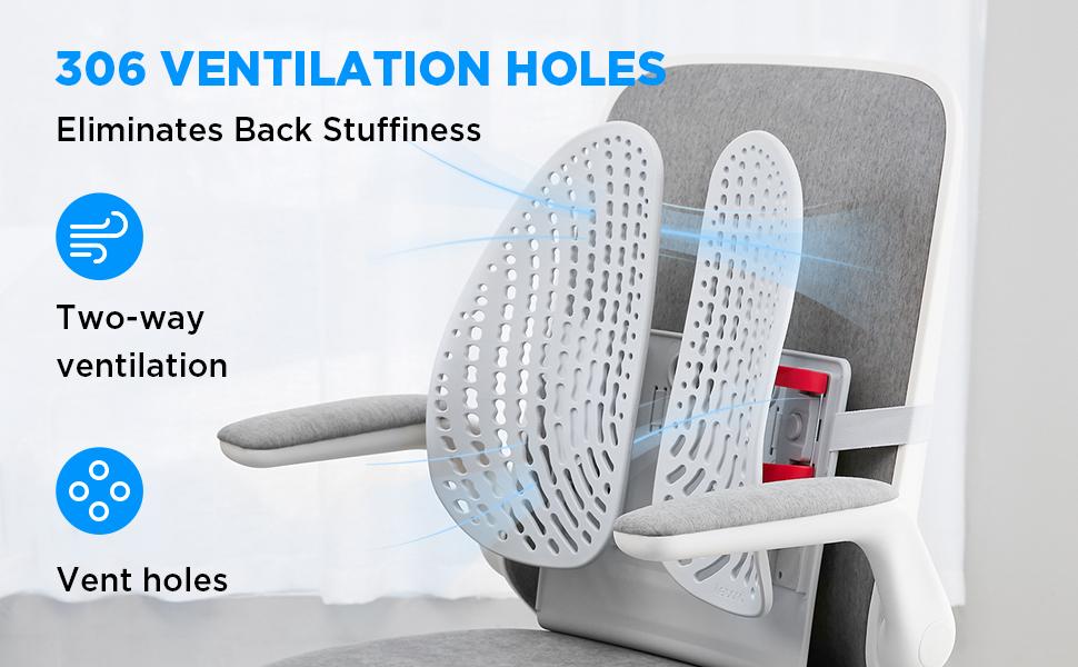 306 ventilation holes eliminates back stuffiness