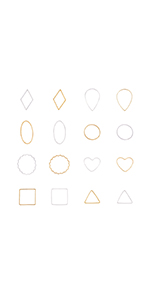 160 pcs 8 Shapes 2 Colors Open Bezel Pendant