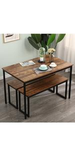 44.9 inches Wood Dining Table Set with 2 Bench Chairs