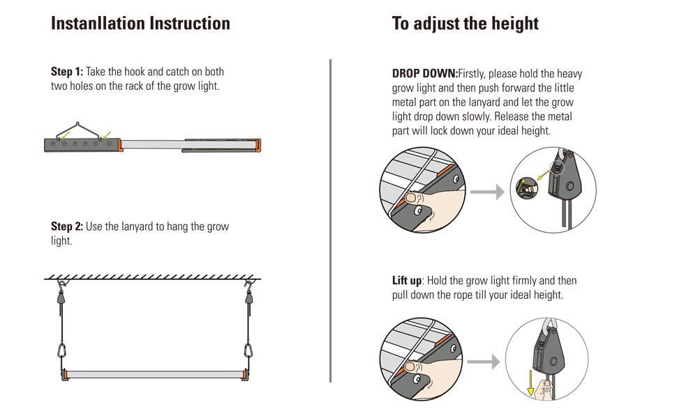 Installation guide of ACKE AL-400W LED GROW LIGHT