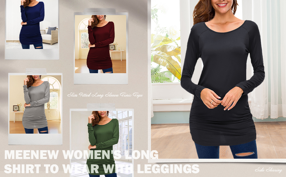 Meenew Women's Long Tunics to Wear with Leggings Slim Fitted Casual Long Sleeve Tops Tshirt Dress