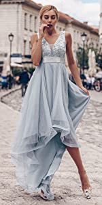V-Neck Sleeveless Appliques High Low Evening Party Dress