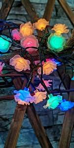 solar rose flowers, solar flowers, solar string lights