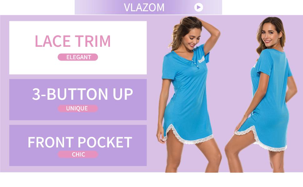 Vlazom Women's Nightgown Sexy Lace Trim Sleep Shirt