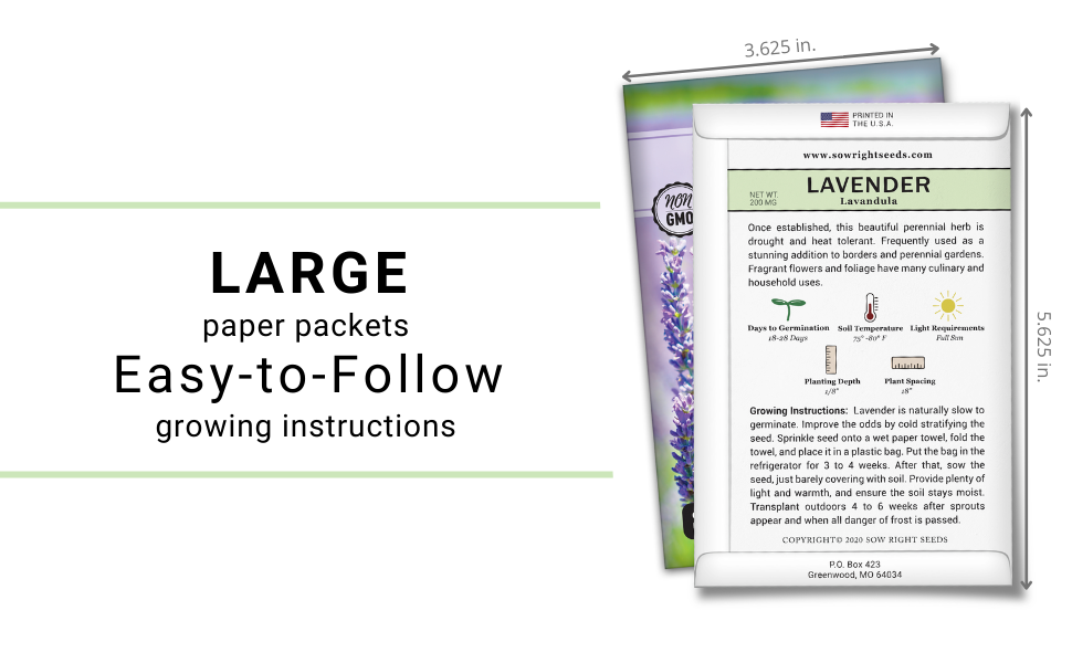 Large paper packets. Easy to follow growing instructions