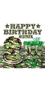 16 Guests Camo Birthday Party Supplies B08VVRNJYD