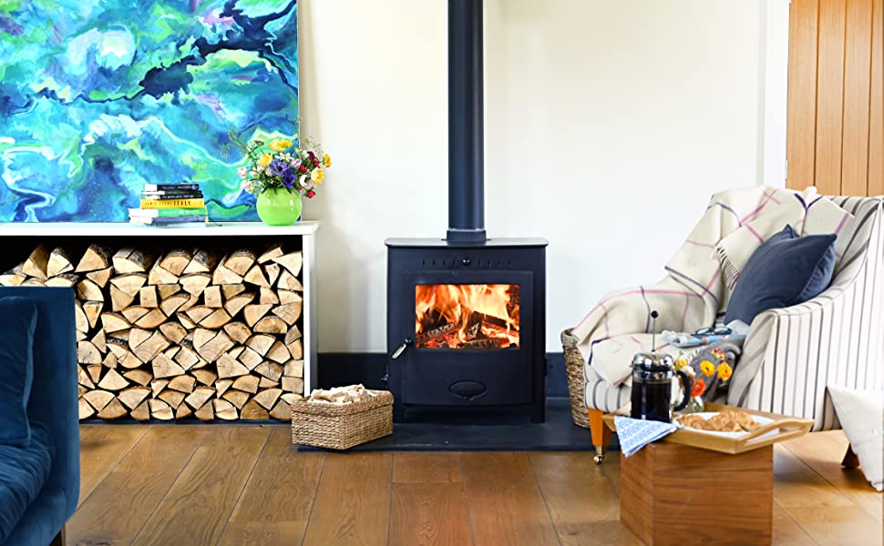 Picture of a wood burning stove with a fire inside.