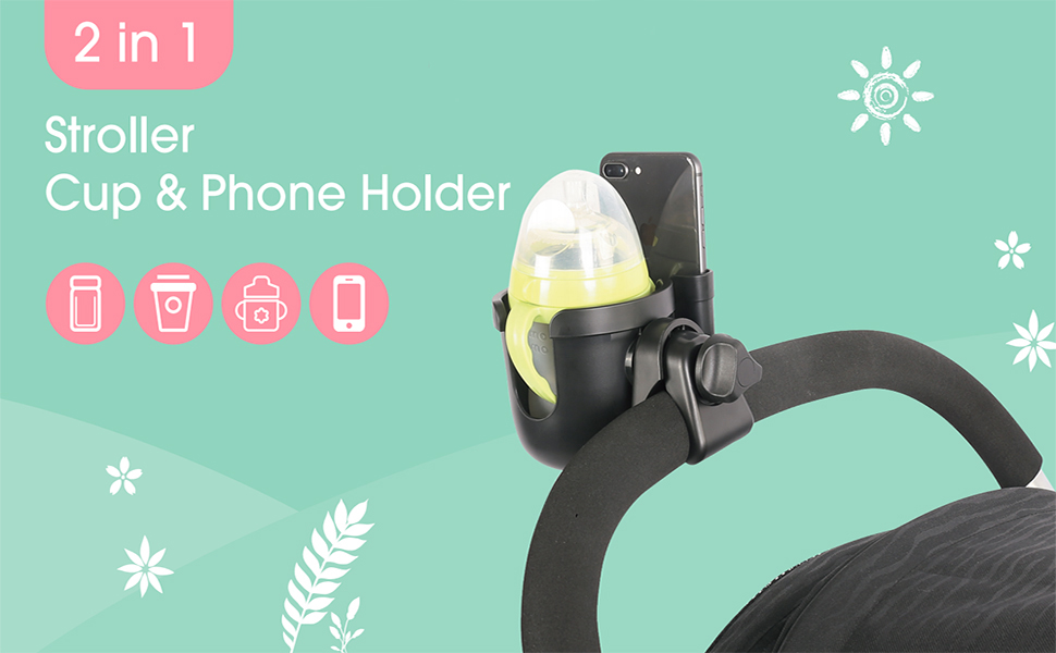 2-in-1 Stroller Cup Holder with Phone Organizer