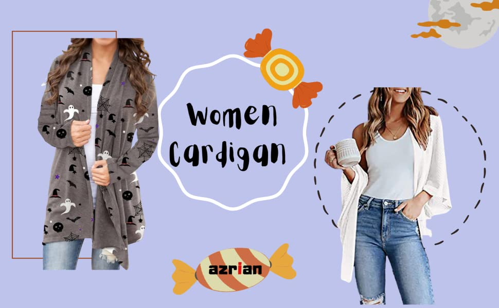 Women Cardigan 3/4 Sleeves Pumpkin Ghost Witch Print Open Front Tops for Halloween Blouses