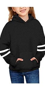 Girls Black Crewneck Sweatshirts Long Sleeve Pullover Sweatshirt