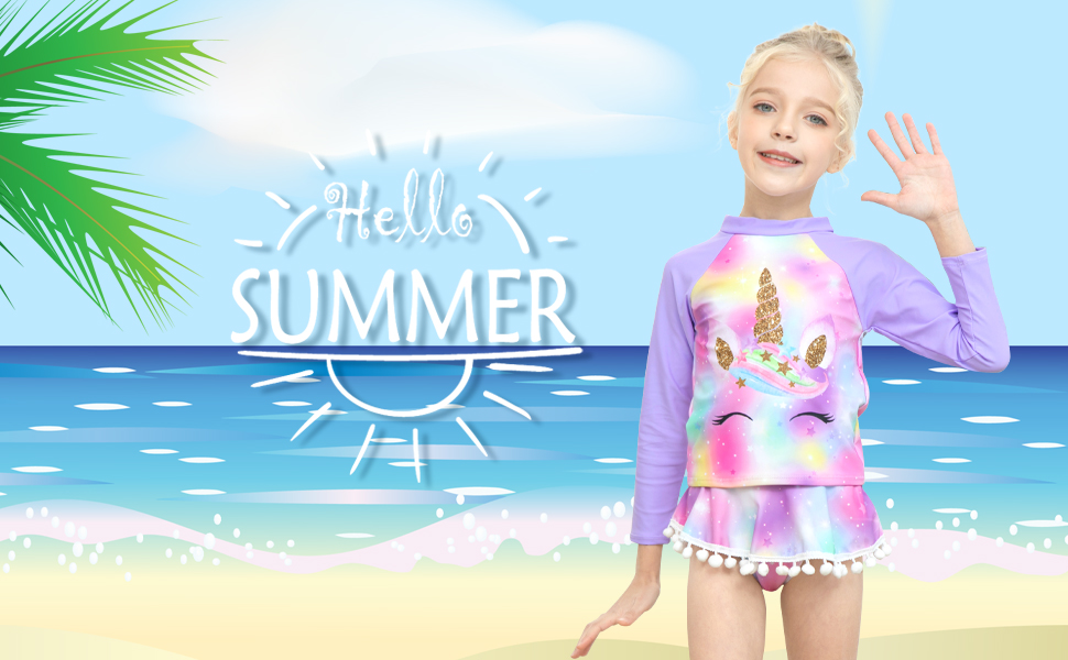 girl rash guard swimwear long sleeve swimsuit bathing suits
