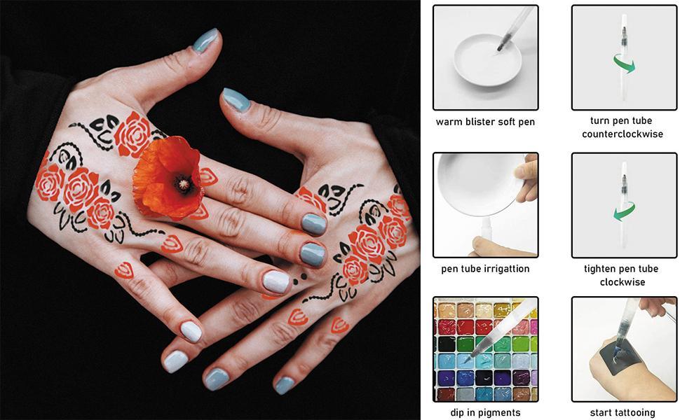 Henna Tattoo Stencils 120 PCS