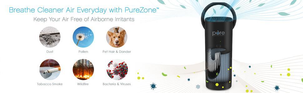 PureZone Mini Portable Air Purifier Filtration Stages