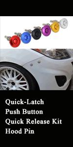 Quick-Latch Push Button Quick Release Kit Hood Pin