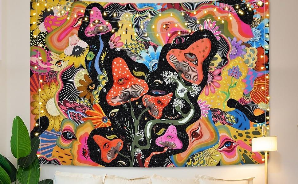 Mushroom Tapestry Psychedelic Eyes Tapestries