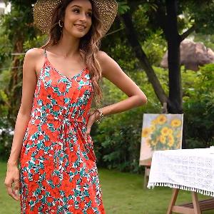 Women's Strap V-Neck Floral Casual Maxi Dress