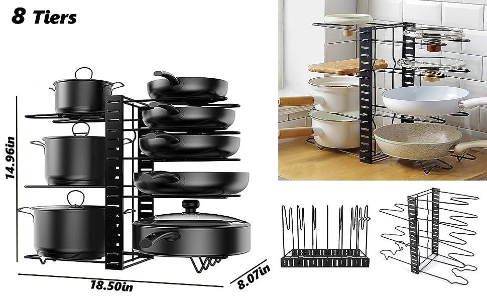 8 Tiers Pot Pan Storage Rack Organizers Iron Adjustable Pot Pan Rack - Pan Lid Holders