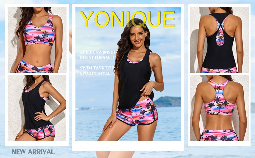 women 3 piece tankini swimsuits swim shorts tank tops athletic racerback sports bra bathing suits