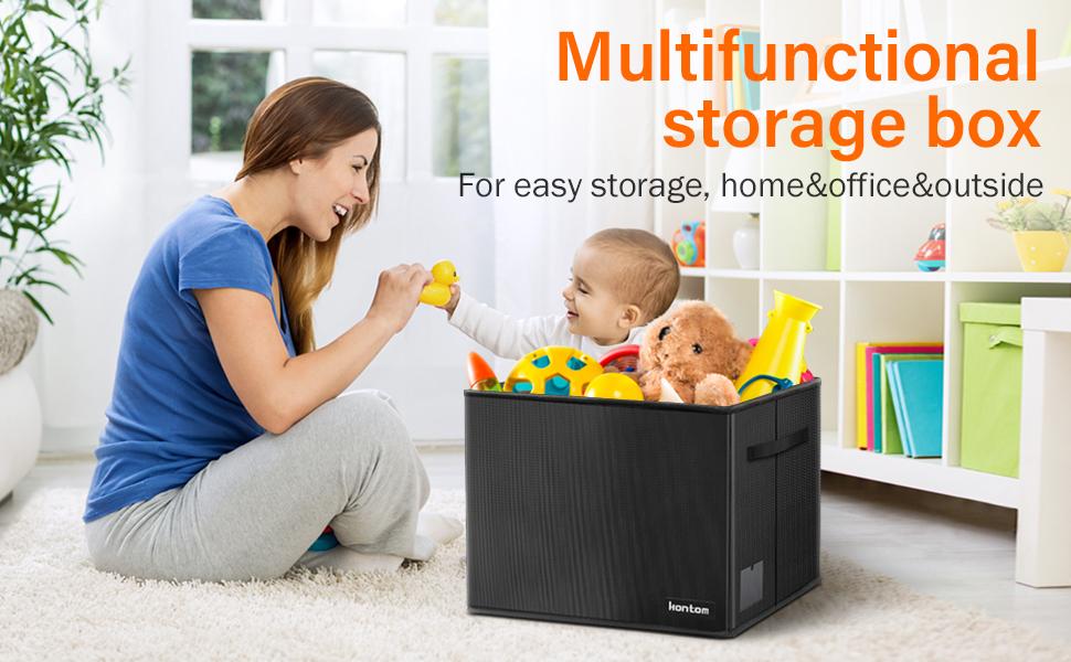 kids toy chest,big toy chest,playroom storage,fabric toy box,black toy box