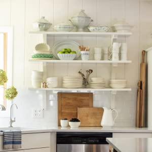 Photo of white country shelves with plates and serving ware