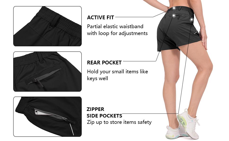 women lightweight quick dry stretch hiking shorts