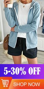 FIYOTE Womens Long Sleeve Zip Up Hoodie Sweatshirt Casual Tops with Pockets