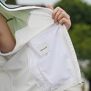 IPEUM Women's Airy Lightweight Color Block Drawstring Hooded Windbreaker Jacket
